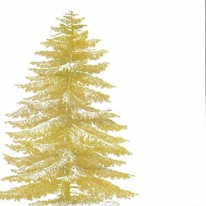 Details About White Gold Christmas Tree Pack Of 20 Paper Napkins Serviettes 13 X 13