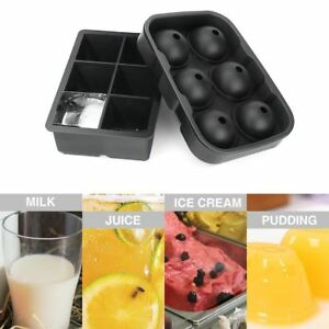 Ice Cube Maker 6 Ball Silicone Mold Sphere Mould Round Bar For Party Tray W Y6T2