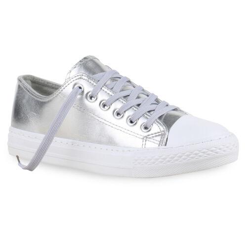 Sneakers Low Damen Metallic Turnschuhe Weiße Sohle Flats 814472 Trendy