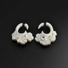 Carved Bone Fake Four Flower Spiral Faux Gauging Cheater Lobe Stretcher Earring