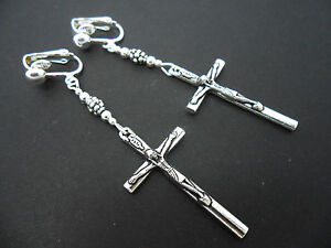 A-PAIR-OF-TIBETAN-SILVER-CROSS-CRUCIFIX-CLIP-ON-EARRINGS