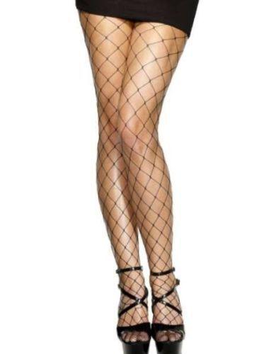 Donna 80s 1980s anni/'80 Diamond Crotchless collant rete nero Costume da Smiffys