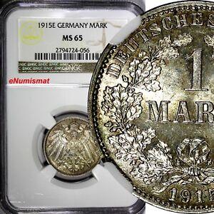 Germany-Empire-Wilhelm-II-Silver-1915-E-1-Mark-NGC-MS65-Dresden-Mint-KM-14