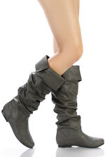 Gray Faux Leather Slouchy Knee High Flat Boot 6.5 us Qupid Neo-100xx