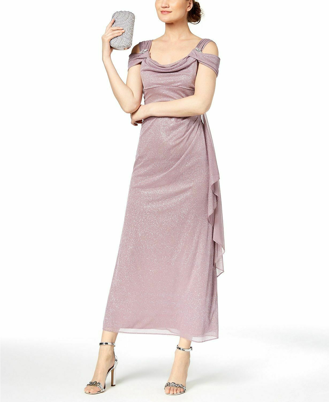 R&M RICHARDS PETITE damen lila GLITTER COLD-SHOULDER GOWN DRESS Größe 10P