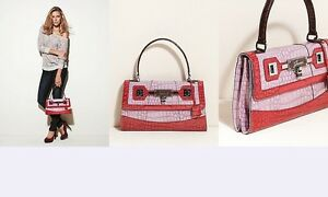 Image Is Loading Guess Lina Shine Croco Pink Multi Satchel Flap