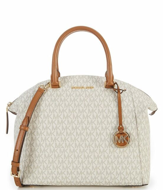 fd1b3121f6a5 Michael Kors Riley Large Signature Satchel Vanilla 38H7GRLS7B for ...