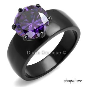 Princess Purple Amethyst Cubic Zirconia /& Clear Cz Black Stainless Steel Ring Sizes