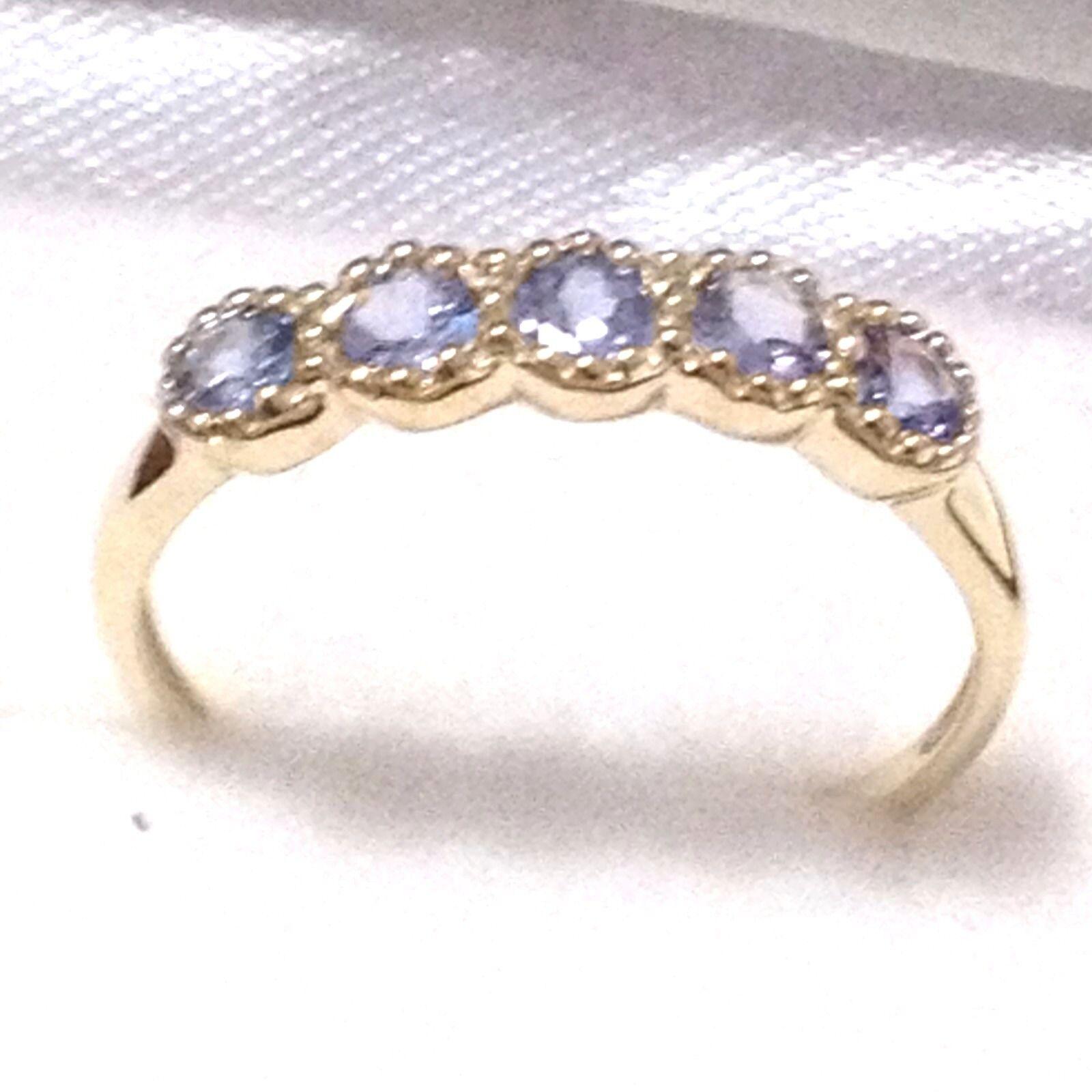 Tanzanite ring gold  5pcs natural Tanzanite 9ct gold ring, women ring, Size N