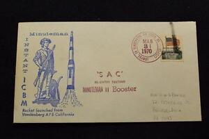 Espacio-Cubierta-1970-Mano-Cancelado-Sac-Minuteman-II-Launch-Re-Ingreso-Prueba
