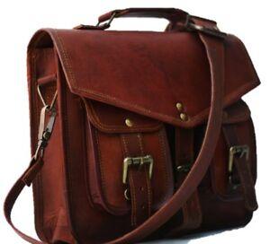 1f12549f7bf9 Image is loading Shoulder-Men-Women-Genuine-Vintage-Brown-Leather-Messenger-