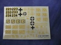 Vintage T38 hetzer Model Aircraft Decals