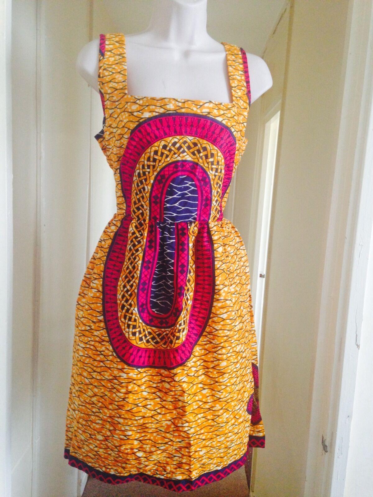 AFRICAN PRINT PINK orange SUN DRESS MEDIUM BNWT