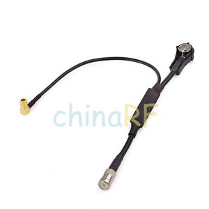 DAB-Antenna-Amplified-ISO-ISO-Aerial-Splitter-Adapter-Cable-SMB-Car-Radio-Active