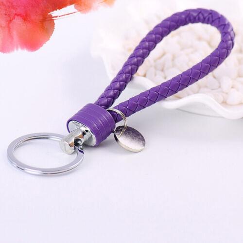 Braided PU Leather Strap Keyring Keychain Car Key Chain Ring Key Fob Funny