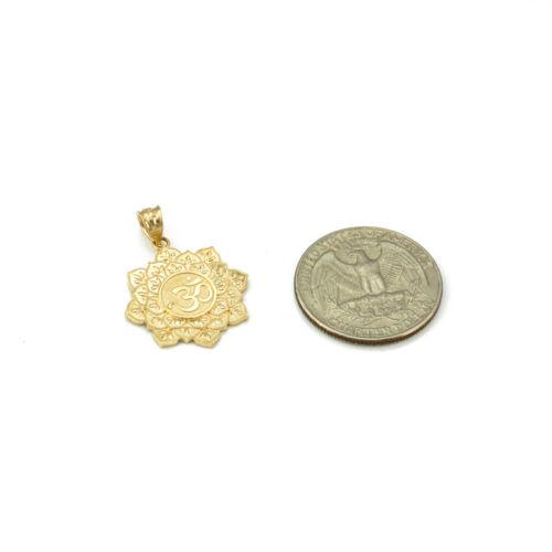 10K Yellow Gold Om Lotus Mandala Pendant Necklace