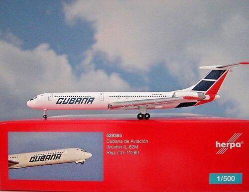 62M  Cubana  CU-T1280  529365  Modellairport500 Herpa Wings 1:500 Ilyushin IL