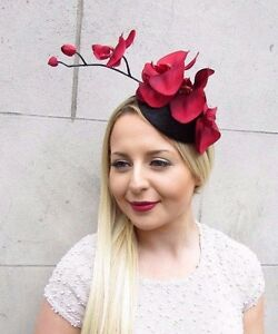 Black Red Velvet Orchid Flower Fascinator Hat Races Headband Hair Vintage 2649