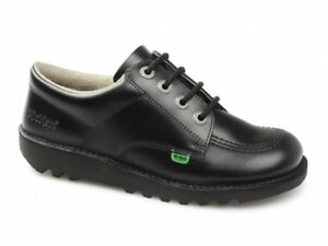 Kickers Fragma Boys Black Leather Flat Sole Touch Fasten Shoes