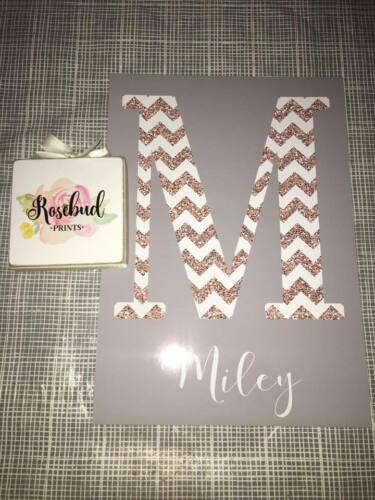 Initial name chevron A4 print Nursery christening baby gift Grey mint pink DECOR