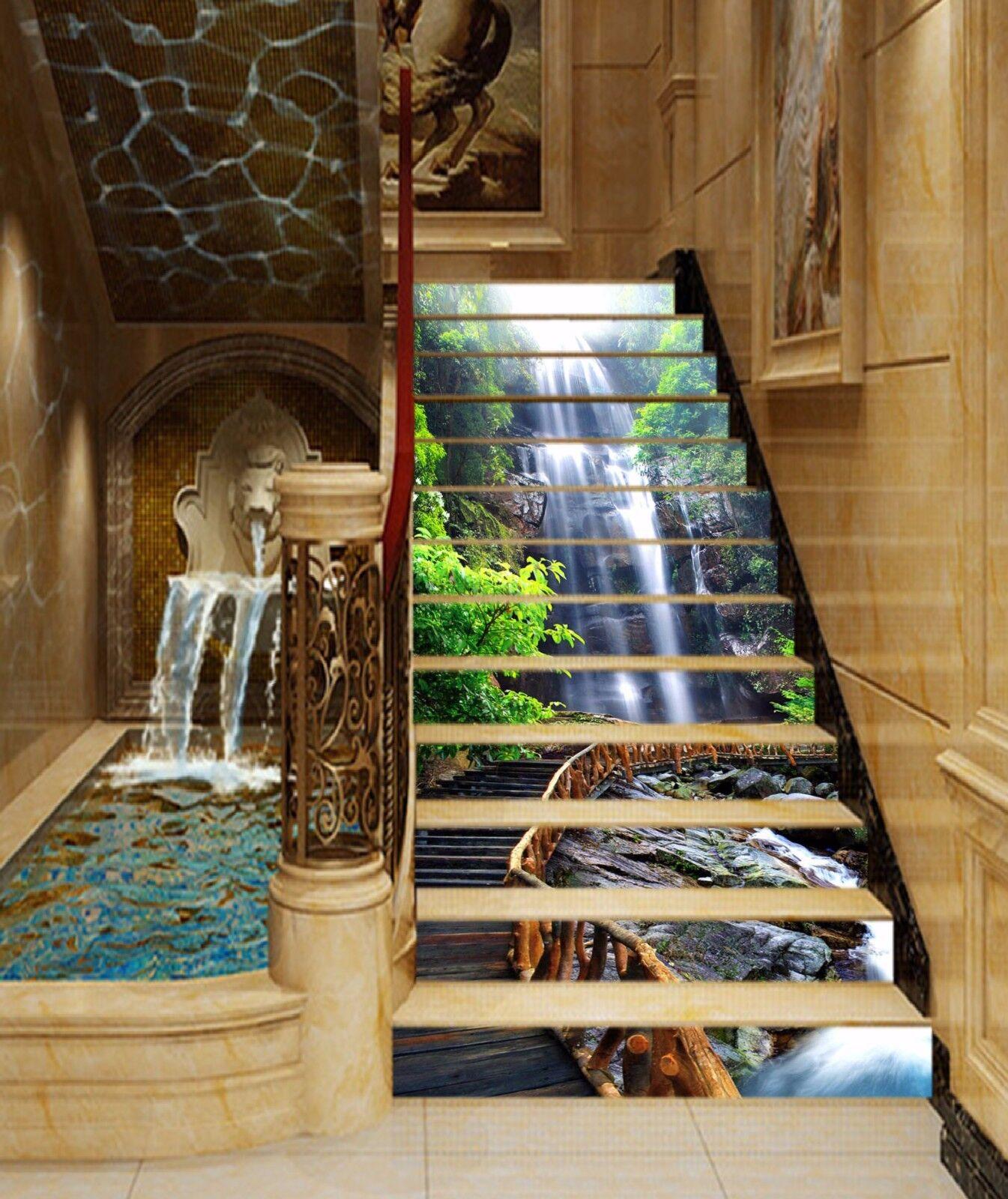 3D Falls Wood Road Stair Risers Decoration Photo Mural Vinyl Decal Wallpaper UK