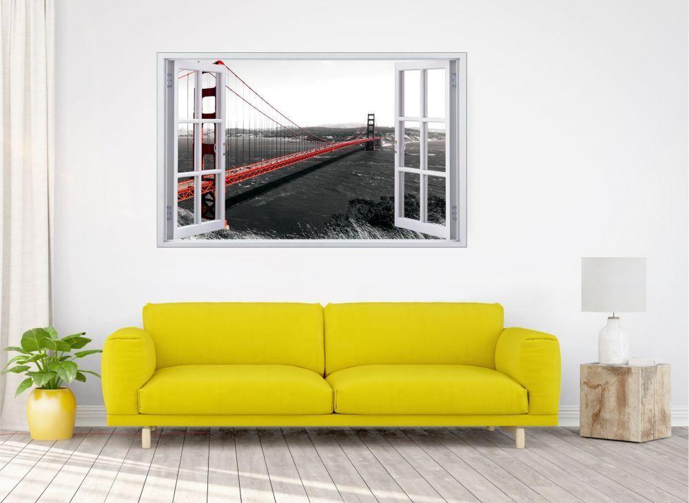Golden Mural Gate Bridge Pont Mural Golden Sticker Autocollant f0755 104b08