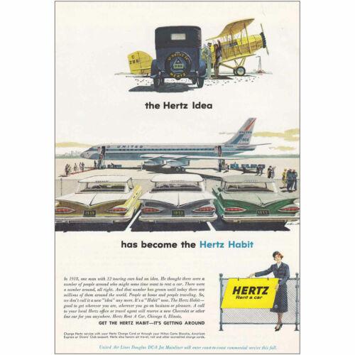 1959 Hertz Rent-a-Car United Airlines DC-8 Vintage Print Ad