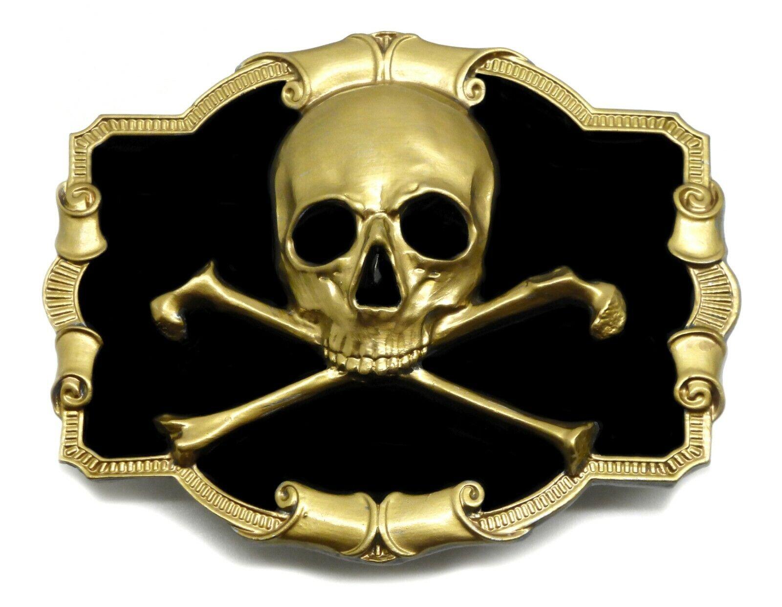 Skull & Crossed Bones Belt Buckle Black & Gold Design Authentic Dragon Designs