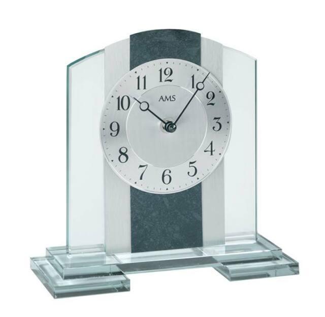 Tischuhr Quarz analog schwarz modern eckig mit Glas und Aluminium AMS Quarzuhr