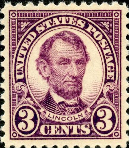 1923 3c Abraham Lincoln, Violet Scott 555 Mint F/VF NH