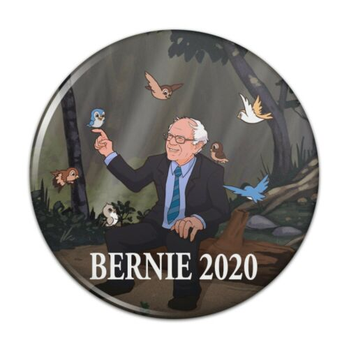 Bernie Sanders 2020 with Birds Cartoon Kitchen Refrigerator Locker Button Magnet