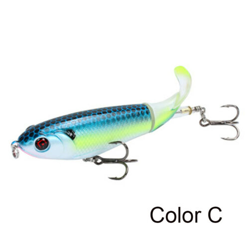 Eye Rotating Tail Topwater Bass Fishing Lure Fish Bait Plopper VMC Hooks