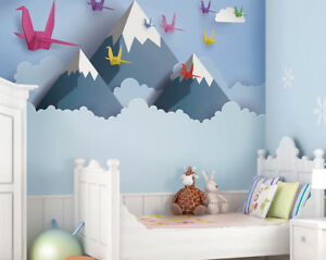 Details About Ohpopsi Origami Mountains And Birds Children S Nursery Wall Mural Art