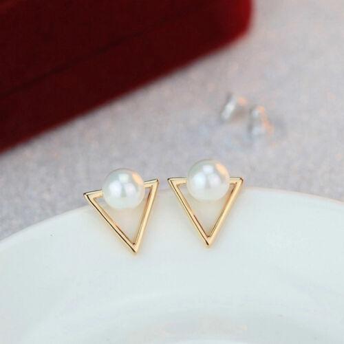 1 Paire Filles Mode Imitation Perle Géométrique Triangle Clou Boucle d/'oreille