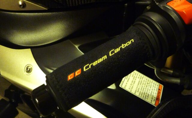 Cream Carbon Rechargeable Heated Over Grips - Fits Yamaha Motorcycles