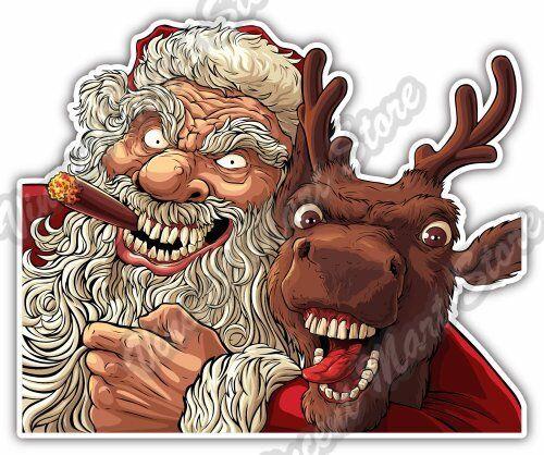 drunk bad santa claus cigar christmas deer car bumper vinyl sticker decal 5x4 ebay - Drunk Christmas