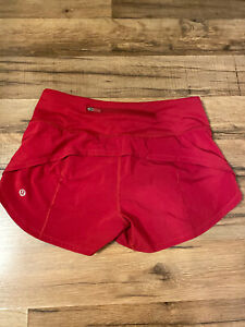 "LULULEMON Red Run Speed Up Shorts 2.5"" inseam, Liner, Size 4 Small NEW"