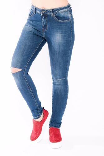*HUGE SALE* Women/'s Ripped Jeans Knee Cut Skinny Fit Stretchy Ladies Denim 6-16