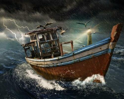 Abandoned Boat in a Stormy Sea Van-Go Paint-By-Number Kit
