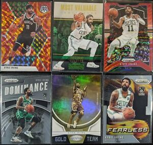 Lot-of-6-Kyrie-Irving-Including-Mosaic-orange-reactive-Prizm-SP-amp-Gold-Team