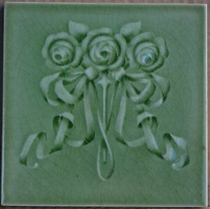 ANTIQUE BOOTE ART NOUVEAU MAJOLICA TILE C1900