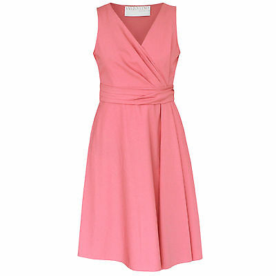 VALENTINO TECHNO COUTURE $2,390 light pink v-neck belted wrap front dress 44 NEW