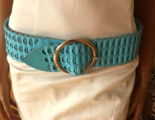 Hüftgürtel Gürtel breit türkis blau Bigschnalle Party Pastell Damen