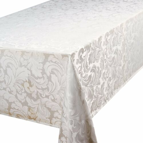 CADIZ GLACIER TABLE CLOTHS JACQUARD DAMASK LEAVES WHITE BIRTHDAY CHRISTMAS PARTY