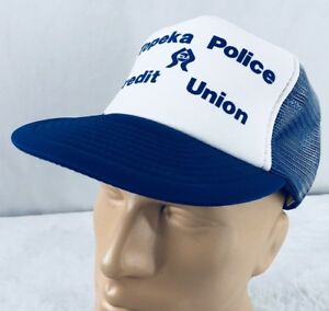 Vtg Topeka Police Credit Union Hat Snapback Trucker Cap Blue