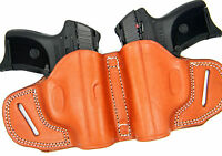 Premium Brown Leather Dual 2-gun Owb Holster Small Of Back Sob For Glock 26 27