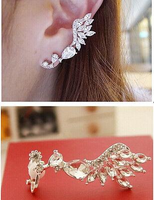 Korean Fashion Cute Nice Crystal Leaf Wings Left Ear Cuff Clip No Ear Hole 1PC