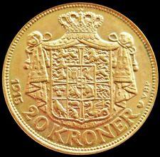 1915 GOLD 8.9606 GRAMS DENMARK 20 KRONER COIN HIGH GRADE