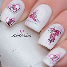 Nail WRAPS Art Water Transfers Decals Fairy Butterfly Silver Pink Heart Y117