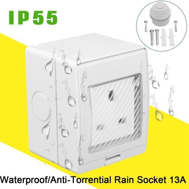 Uk Ip55 13a Single Plug Socket Waterproof Switched Outdoor